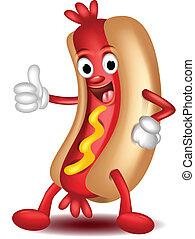 hot dog, feláll, karikatúra, lapozgat