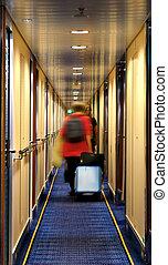hotel, életlen, folyosó, emberek