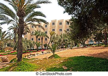 hotel, alapozott, terület, olaj, sousse, tunéziai, szállít, élelmiszer, felszerelés, feldolgozott, tunisia., tourism., olajbogyó, textilek, gazdaság