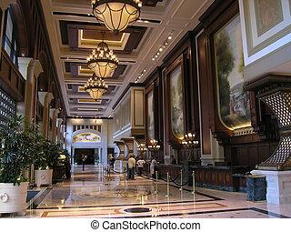 hotel, fényűzés, lobbizik
