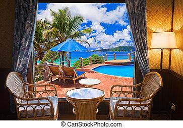 hotel, tengerpart, szoba, táj