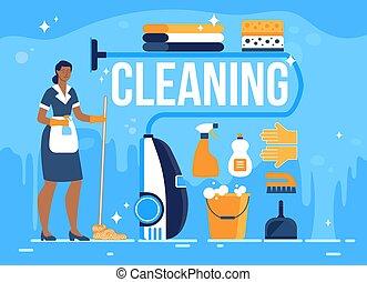 hotel, transzparens, vektor, lakás, szoba, takarítás, szolgáltatás