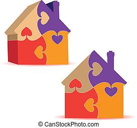 house., rejtvény, 3, vektor