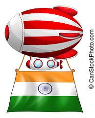 hozzácsatolt, balloon, india lobogó, úszó
