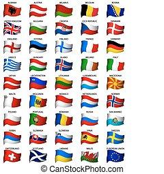 hullámos, állhatatos, zászlók, európai