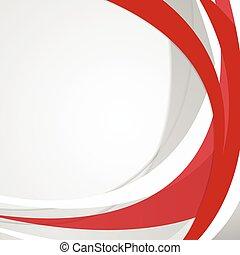 hullámos, elvont, vektor, piros háttér