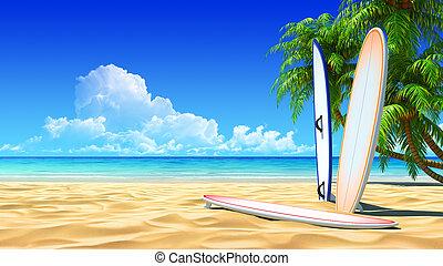 hullámtörés, idillikus, deszkák, három, tropikus, homok tengerpart