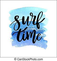 hullámtörés, nyár, felirat, festett, kék, -, lenget, vízfestmény, háttér, idő, handdrawn, frázis