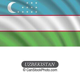 hullámzás, ábra, üzbegisztán, háttér., lobogó, vektor, fehér