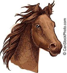 hullámzás, barna ló, sörény, portré
