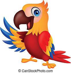 hullámzás, csinos, ara papagáj, madár, karikatúra