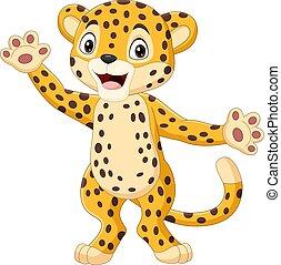 hullámzás, csinos, leopárd, karikatúra, kéz