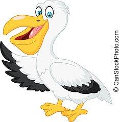 hullámzás, csinos, pelikán, karikatúra, kéz
