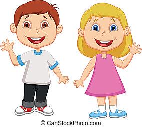 hullámzás, fiú, leány, karikatúra, kéz
