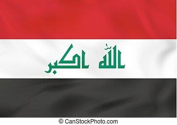 hullámzás, flag., irak, illustration., vektor