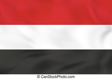 hullámzás, flag., jemen, illustration., vektor