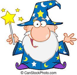 hullámzás, furcsa, varázsló, varázslatos wand