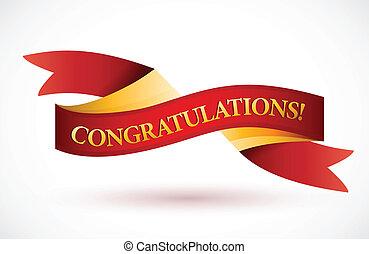 hullámzás, gratulálok, transzparens, piros szalag