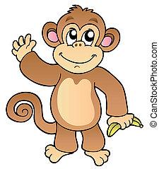hullámzás, karikatúra, majom, banán
