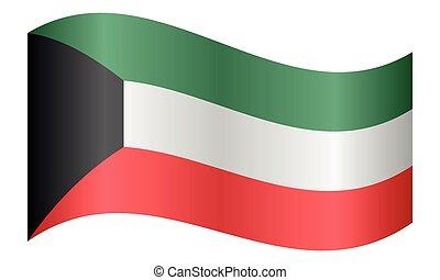 hullámzás, kuwait lobogó, white háttér