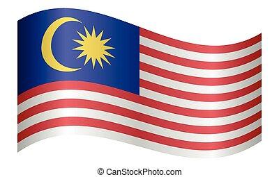 hullámzás, malaysia lobogó, white háttér