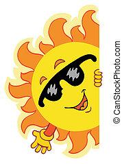 hullámzás, nap, karikatúra