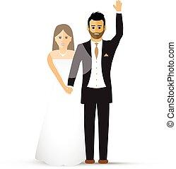 hullámzás, párosít, esküvő
