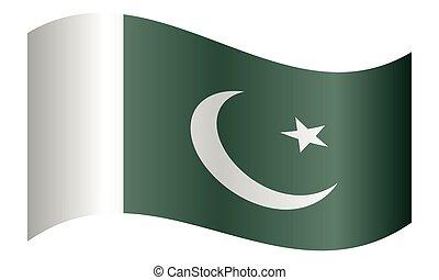 hullámzás, pakistan lobogó, white háttér
