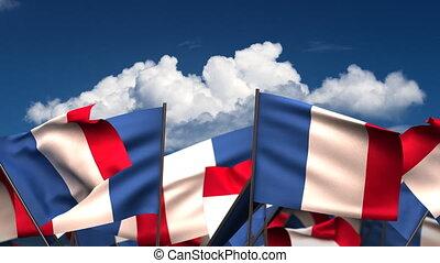 hullámzás, zászlók, francia