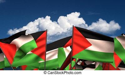 hullámzás, zászlók, palesztin