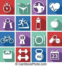 hulla épület, képzés, tréning, emberek, atlétikai, tornaterem, pictogram, tornaterem, aláír, egészséges, ember, jelkép, gyakorlás, ikon