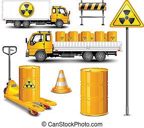hulladék, szállít, radioaktív