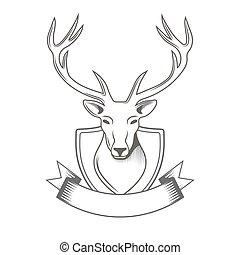 hunting., vadász, őz, klub, ábra, elszigetelt, vektor, háttér, jel, white szalag