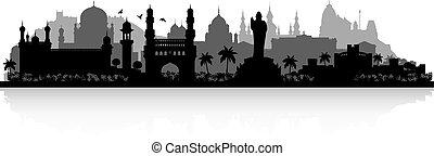 hyderabad, láthatár, india, árnykép, város