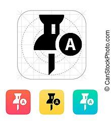 icon., címke, geo, gombostű