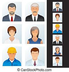 icon., emberek, különféle, avatars, foglalkozás