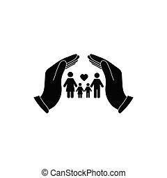 icon., hatalom kezezés, törődik, vektor, ikon, család