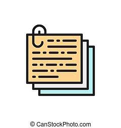 icon., kazal, recept, paperclip, szöveg, hangjegy, lakás, okmányok, szín