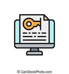 icon., kulcs, jelszó, szöveg, monitor, lakás, szín