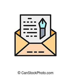 icon., levél, freehand, boríték, lakás, szín, regény