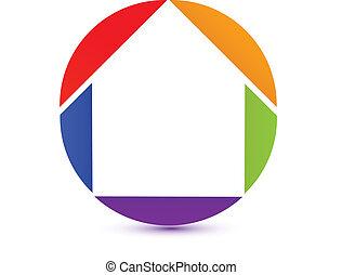 icon-logo, színes, épület