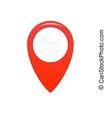 icon., mutató, elhelyezés, gps, jelkép., térkép