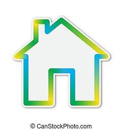 icon., színes, épület, vektor