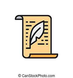 icon., szöveg, levél, dokumentum, lakás, copywriting, szín