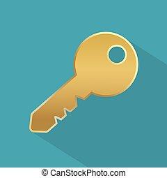 icon-, vektor, ábra, arany-, kulcs
