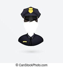 icon., vektor, elszigetelt, white., rendőr