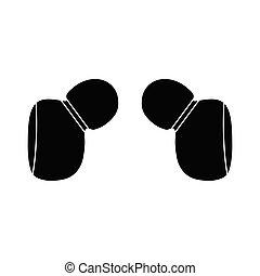 icon., vektor, jelkép, ikon, fülhallgató, fejhallgató
