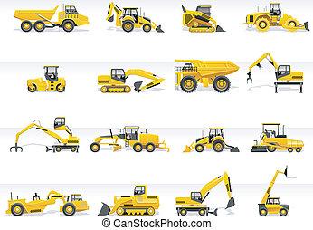 icon., vektor, szállítás, traktor