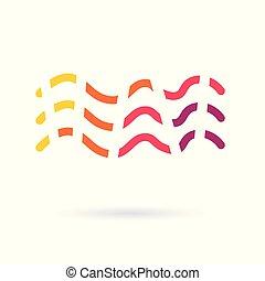 icon-, vektor, színes, ábra, lenget