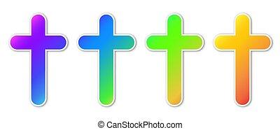 icons., színes, állhatatos, keresztény, kereszt